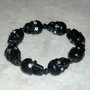 Jewelry - Rhinestone Black Skull Beaded Stretch Bracelet